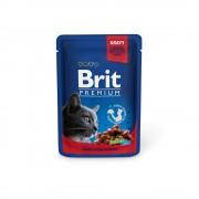 Влажный корм Brit Premium с говядиной и горошком в соусе, 100 гр.
