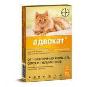 Капли Адвокат для кошек на холку от глистов, блох, власоедов, клещей (1 пип.)