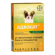 Капли Адвокат для собак на холку от глистов, блох, власоедов, клещей (1 пип.)
