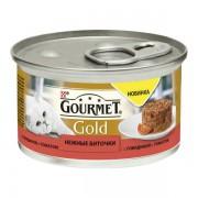 Консервы Gourmet Gold для кошек нежные биточки с говядиной и томатом, 85 гр.