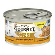 Консервы Gourmet Gold для кошек нежные биточки с курицей и морковью 85 гр.