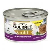 Консервы Gourmet Gold для кошек нежные биточки с ягненком и зеленой фасолью, 85 гр.