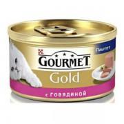 Консервы Gourmet Gold для кошек паштет из говядины, 85 гр.